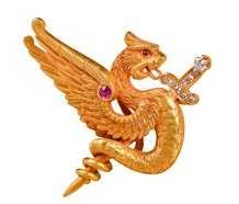 Riker Bros. Diamond Ruby Dragon Brooch