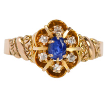 Sweet Sapphire Diamond Cluster Ring