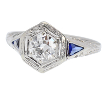 Glittering Art Deco Diamond Sapphire Ring