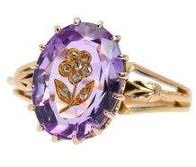 Amethyst Diamond Flower Victorian Ring