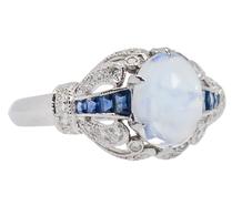 Ornate Moonstone Diamond Sapphire Ring