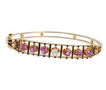 Pink Sapphire Diamond Bangle Bracelet