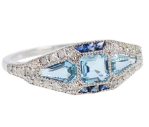 Fancy Aquamarine Sapphire Diamond Ring